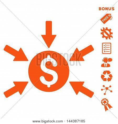 Money Income icon with bonus pictograms. Vector illustration style is flat iconic symbols, orange color, white background, rounded angles.