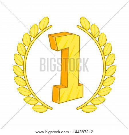 First place laurel label icon in cartoon style isolated on white background