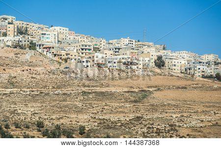 Houses one the hill near Amman city in Jordan