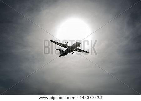 Small plane flight over beach in Tel Aviv Israel