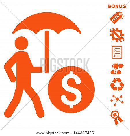 Walking Banker With Umbrella icon with bonus pictograms. Vector illustration style is flat iconic symbols, orange color, white background, rounded angles.