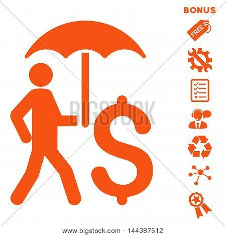 Walking Businessman With Umbrella icon with bonus pictograms. Vector illustration style is flat iconic symbols, orange color, white background, rounded angles.