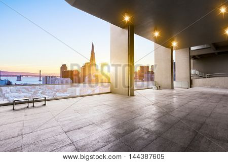 cityscape and skyline of san francisco from brick floor