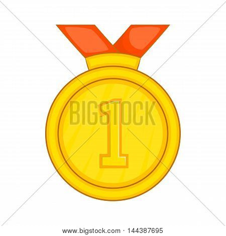Gold medal for first place with red ribbon icon in cartoon style isolated on white background