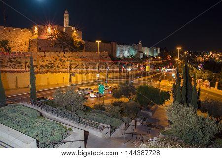 JERUSALEM, ISRAEL - JUNE 2, 2015: The old city walls of Jerusalem at night