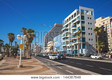 TEL AVIV, ISRAEL - JUNE 4, 2015: View of the business district with modern buildings in Tel Aviv
