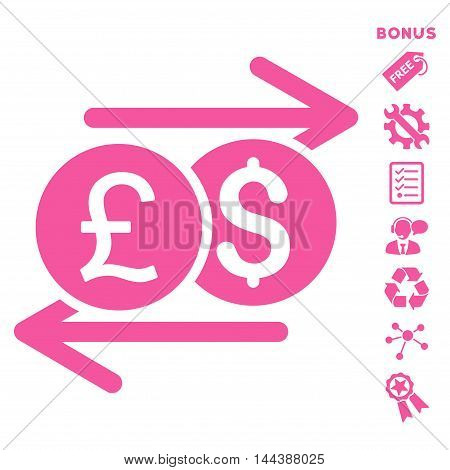 Currency Exchange icon with bonus pictograms. Vector illustration style is flat iconic symbols, pink color, white background, rounded angles.