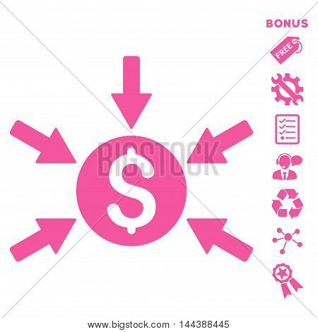 Money Income icon with bonus pictograms. Vector illustration style is flat iconic symbols, pink color, white background, rounded angles.