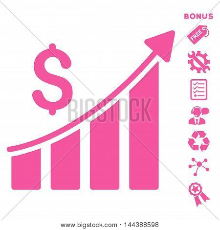 Sales Growth Bar Chart icon with bonus pictograms. Vector illustration style is flat iconic symbols, pink color, white background, rounded angles.