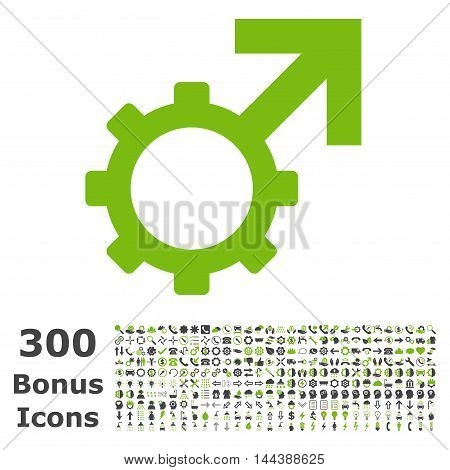 Technological Potence icon with 300 bonus icons. Vector illustration style is flat iconic bicolor symbols, eco green and gray colors, white background.