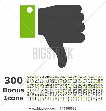 Thumb Down icon with 300 bonus icons. Vector illustration style is flat iconic bicolor symbols, eco green and gray colors, white background.
