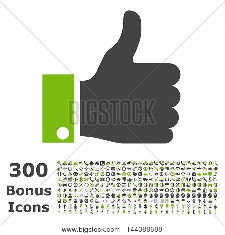 Thumb Up icon with 300 bonus icons. Vector illustration style is flat iconic bicolor symbols, eco green and gray colors, white background.