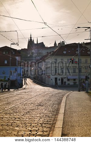 PRAGUE, CZECH REPUBLIC - MAY 6, 2015: Empty road in Prague before the weekend