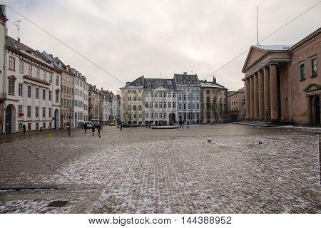COPENHAGEN, DENMARK - 30 DECEMBER, 2014: Beautiful old buildings in the city center