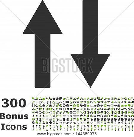 Vertical Flip Arrows icon with 300 bonus icons. Vector illustration style is flat iconic bicolor symbols, eco green and gray colors, white background.