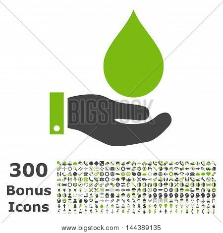 Water Service icon with 300 bonus icons. Vector illustration style is flat iconic bicolor symbols, eco green and gray colors, white background.