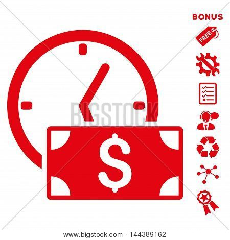 Credit icon with bonus pictograms. Vector illustration style is flat iconic symbols, red color, white background, rounded angles.
