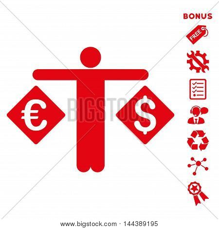 Currency Trader icon with bonus pictograms. Vector illustration style is flat iconic symbols, red color, white background, rounded angles.