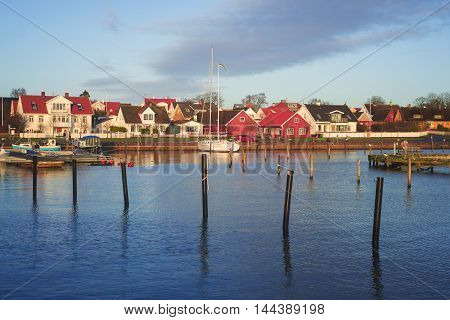 Beautiful harbor in the Swedish city Viken