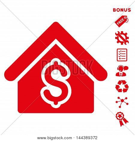 House Rent icon with bonus pictograms. Vector illustration style is flat iconic symbols, red color, white background, rounded angles.