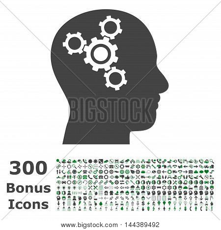 Brain Mechanics icon with 300 bonus icons. Vector illustration style is flat iconic bicolor symbols, green and gray colors, white background.