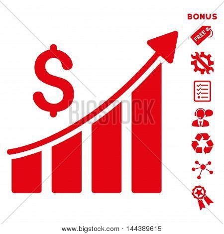 Sales Growth Bar Chart icon with bonus pictograms. Vector illustration style is flat iconic symbols, red color, white background, rounded angles.