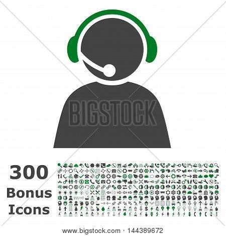 Call Center Operator icon with 300 bonus icons. Vector illustration style is flat iconic bicolor symbols, green and gray colors, white background.