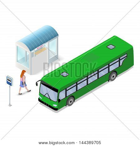 City bus and bus stop icons. Flat vector isometric illustration with transport and woman