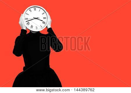 a woman with a clock instead of a head