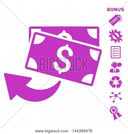 Cashback icon with bonus pictograms. Vector illustration style is flat iconic symbols, violet color, white background, rounded angles.