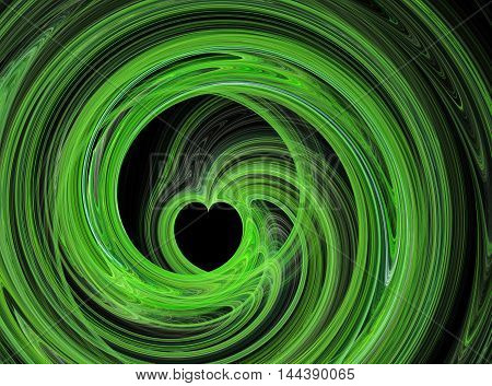 Abstract fractal green heart swirling on black background