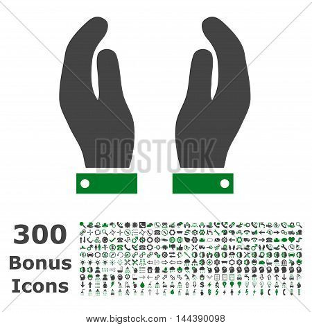 Care Hands icon with 300 bonus icons. Vector illustration style is flat iconic bicolor symbols, green and gray colors, white background.