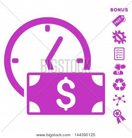 Credit icon with bonus pictograms. Vector illustration style is flat iconic symbols, violet color, white background, rounded angles.