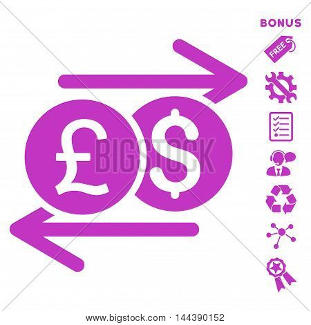 Currency Exchange icon with bonus pictograms. Vector illustration style is flat iconic symbols, violet color, white background, rounded angles.