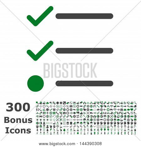 Checklist icon with 300 bonus icons. Vector illustration style is flat iconic bicolor symbols, green and gray colors, white background.