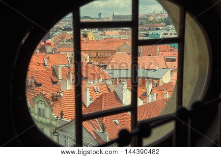view over the rooftops of the old town in Prague