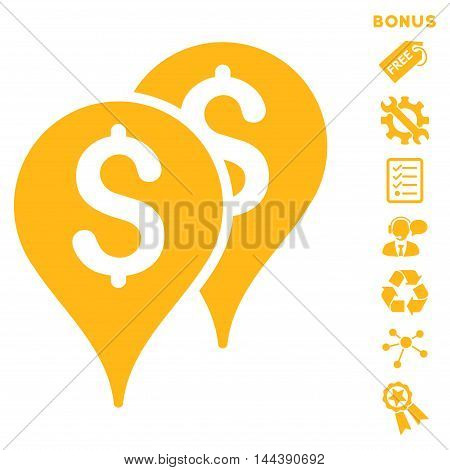 Bank Map Markers icon with bonus pictograms. Vector illustration style is flat iconic symbols, yellow color, white background, rounded angles.