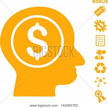 Banker icon with bonus pictograms. Vector illustration style is flat iconic symbols, yellow color, white background, rounded angles.