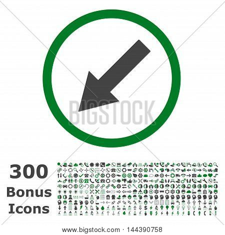 Down-Left Rounded Arrow icon with 300 bonus icons. Vector illustration style is flat iconic bicolor symbols, green and gray colors, white background.