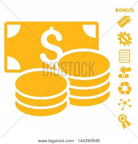 Cash icon with bonus pictograms. Vector illustration style is flat iconic symbols, yellow color, white background, rounded angles.