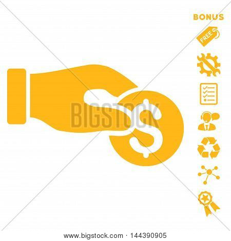 Coin Donation icon with bonus pictograms. Vector illustration style is flat iconic symbols, yellow color, white background, rounded angles.