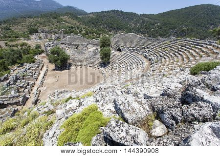 theater of the ancient city of Kaunos in Turkey.