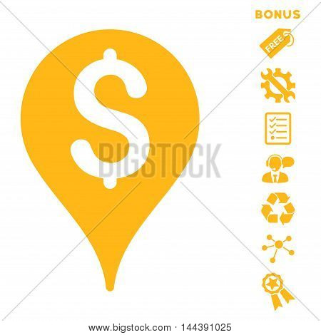 Bank Map Marker icon with bonus pictograms. Vector illustration style is flat iconic symbols, yellow color, white background, rounded angles.