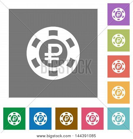 Ruble casino chip flat icon set on color square background.