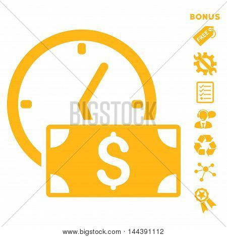 Credit icon with bonus pictograms. Vector illustration style is flat iconic symbols, yellow color, white background, rounded angles.