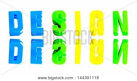 word design from plastic letters on a white background