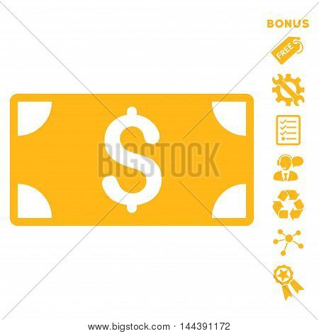 Dollar Banknote icon with bonus pictograms. Vector illustration style is flat iconic symbols, yellow color, white background, rounded angles.