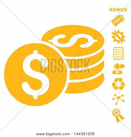 Dollar Coin Stack icon with bonus pictograms. Vector illustration style is flat iconic symbols, yellow color, white background, rounded angles.