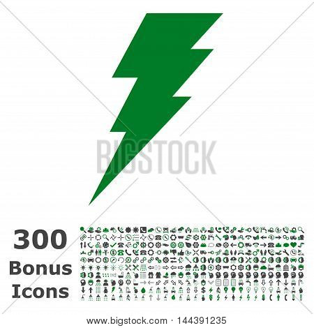 Execute icon with 300 bonus icons. Vector illustration style is flat iconic bicolor symbols, green and gray colors, white background.