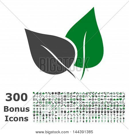Flora Plant icon with 300 bonus icons. Vector illustration style is flat iconic bicolor symbols, green and gray colors, white background.